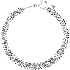 Idea Regalo - Swarovski Collana Girocollo da Donna, con Baron Cristalli Trasparenti e placcata Argento, 38,0cm–5117678