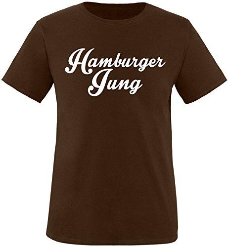 EZYshirt® Hamburger Jung Herren Rundhals T-Shirt Braun/Weiss