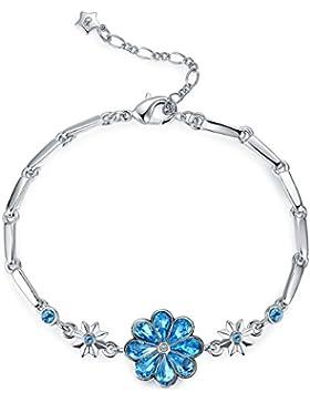 STAR SANDS Herz-Form-Blatt Klee-Kristall-Armband, mit Wasser-Tropfen-geformte Kristalle von Swarovski -Aquamarine...