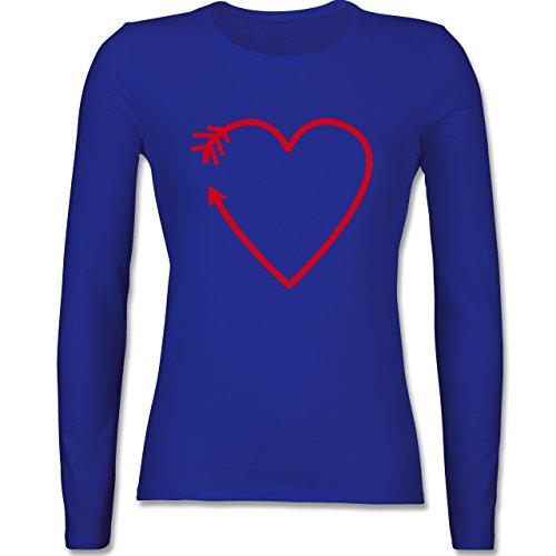 Shirtracer Romantisch - Herz Pfeil - Damen Langarmshirt Royalblau