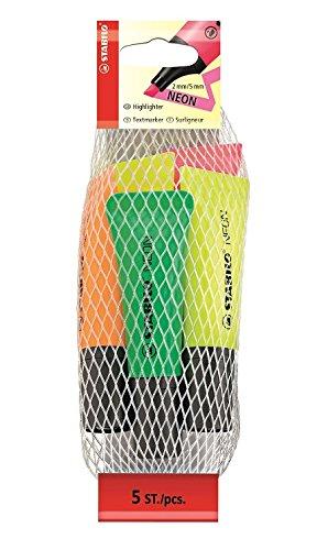 STABILO NEON - Marcador fluorescente con cuerpo semiblando - Malla con 5 colores