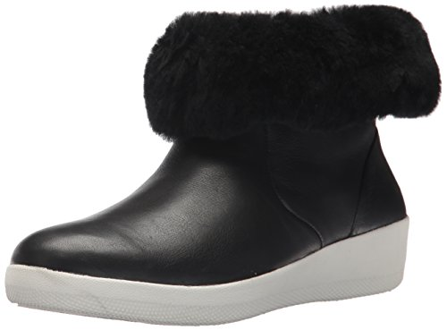 FitFlop Donna Nero Cuoio Skatebootie Stivali Black Leather