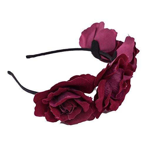 Erwachsene / Kinder Halloween 'Tag der Toten' Haarreif Mit Rosa Blume - Fuchsia, One Size, One size (Tag Der Toten Kostüme Für Halloween)