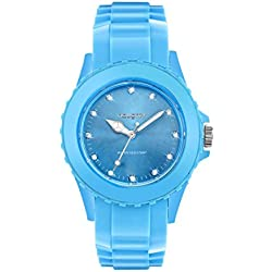Naughty 34 Damen-Armbanduhr mit Swarovski-Kristallen, Silikon, Himmelblau