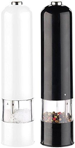 Rosenstein & Söhne Mühlen: 2er-Set elektr. Salz- & Pfeffermühle, Keramik-Mahlwerk, LED, 22,5 cm (Elektrische Salzmühle)