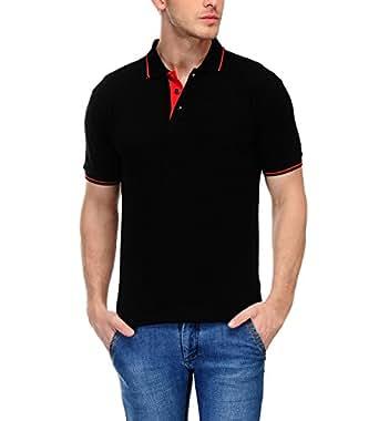 Scott Men's Premium Cotton Polo T-shirt - Black: Amazon.in ...