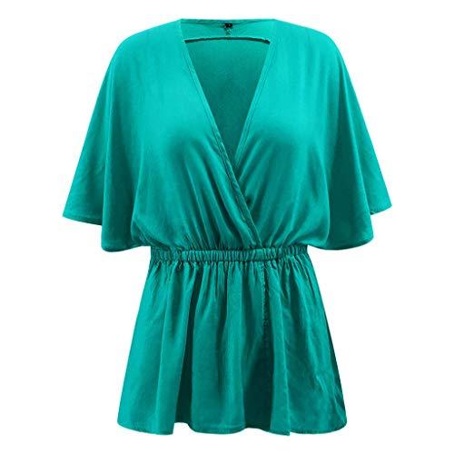 CAOQAO Damen Mode LäSsig Tunika Solide Lose FledermausäRmel V-Ausschnitt Shirt Top Karnevalsparty Kurzarm Neon Kurze ()