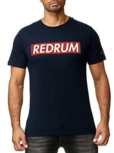 REDRUM Streetwear Fashion Herrenshirt T-Shirt Hip-Hop Kurzarm-Shirt Men beschriftet Beschriftung Aufschrift Bedruckt Modell Logo (Navy-Blau V2, 46 - XS)