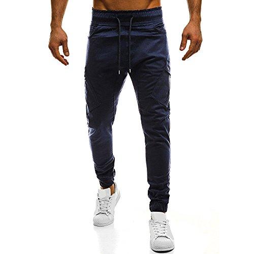 OSYARD Herren Pure Color Lange Sporthose Jogginghose Sweatpants Kordelzug Hose Straight Trainingshose, Multi-Pocket-Kampf Drawstring Pant Cargo Pants (3XL, Marine)