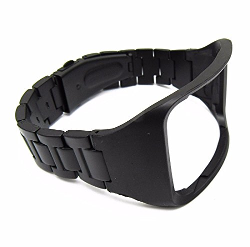 YPYS Black Stainless Steel Watch strap for Samsung Galaxy Gear S R750 Smartwatch Replacement Metal Wrist Bands Wristband