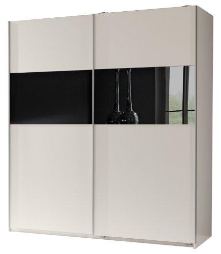 Wimex 128771 Schwebetürenschrank 198 x 180 x 64 cm, Front und Korpus alpinweiß, Absetzungen Glas schwarz