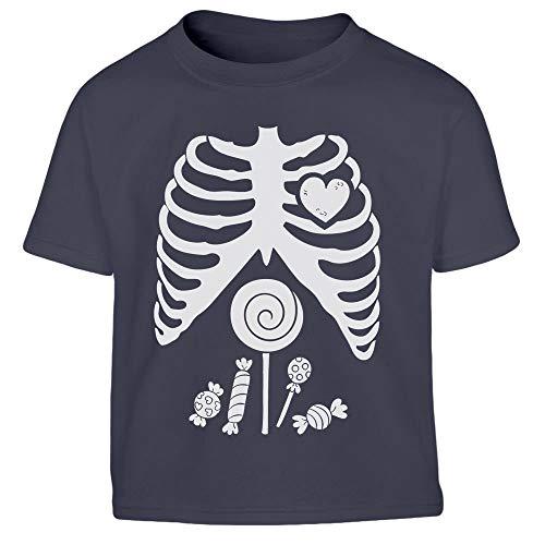 Halloween Junge Kostüm Süßigkeiten Skelett Shirt Kleinkind Kinder T-Shirt 106/116 (5-6J) Marineblau (Kleinkind Süßigkeiten Skelett Kostüm)