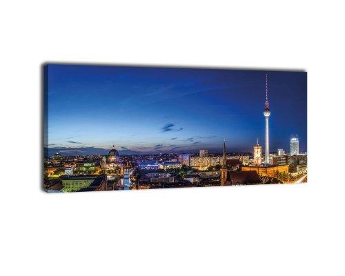 Leinwandbild Panorama Nr. 234 Berlin bei Nacht 100x40cm, Keilrahmenbild, Bild auf Leinwand, Deutschland Hauptstadt Fernsehturm