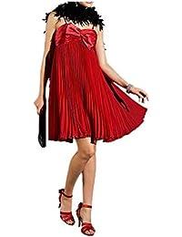 APART Damen-Kleid Chiffon-Satin-Plisseekleid Rot Größe 32