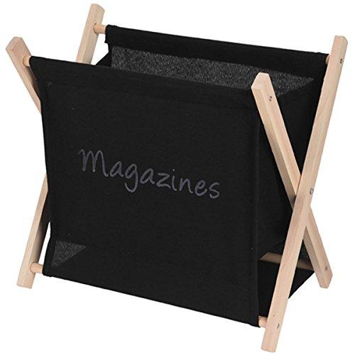 LebenStil Holz Zeitungskorb Magazinständer Zeitungsständer Zeitschriftenständer Magazinhalter 2 Stoff-Fächer klappbar 30x22x30cm Schwarz