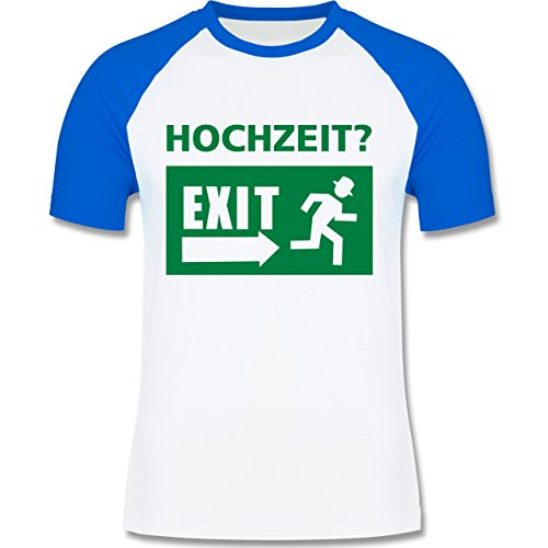 JGA Junggesellenabschied - Hochzeit Exit - zweifarbiges Baseballshirt für Männer Weiß/Royalblau