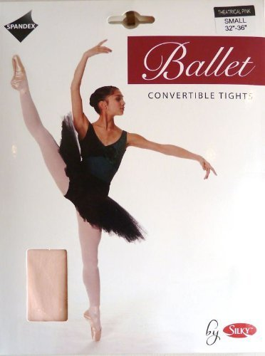 SILKY BALLET DANCE TIGHTS CONVERTIBLE FOOT PINK GIRLS SIZES 10% SPANDEX
