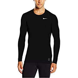 Nike Langarmshirt Cool Comp Camiseta, Hombre, Negro/Gris / Blanco, M