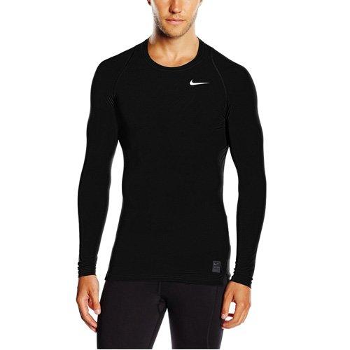 Nike Herren Pro Cool Kompressionsshirt Langarm, schwarz/grau/weiß, L, 703088 (Schwarz Short Nike Running)