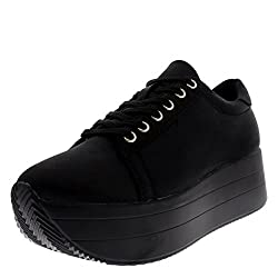Cosmo Womens Wedge Heel Festival Fashion Platform Summer Casual Chic Trainers - Blackblack - Uk3eu36 - Bf0036