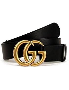 Original auténtica boutique de moda doble hebilla de oro GG hombres y mujeres cinturón