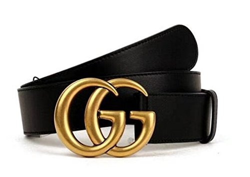 Original authentic fashion boutique double GG gold buckle men and women belt