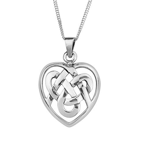 Silber überzogener traditioneller keltischer Ewigkeit Knotwork-Liebes-Herz-Halsketten-Anhänger - schließt 18