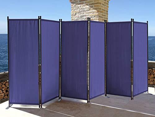 QUICK STAR Paravent 6 Teilig 340x165cm Stoff Raumteiler Garten Trennwand Balkon Sichtschutz Stellwand Faltbar Blau