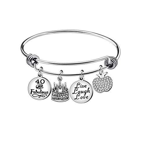 13 16 18 21 30 40 50 60 65 Ans Cadeaux d'anniversaire pour Femme Bracelet en Acier Inoxydable Bijoux (40)