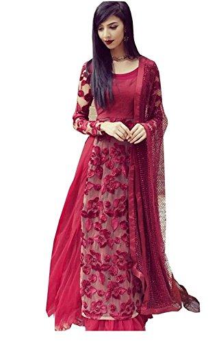 Aanya Women\'s Semi-Stiched Wine Red Net Embroidered Wedding Lehenga Choli
