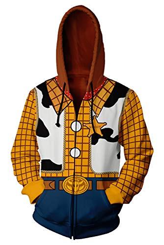 RedJade Herren Damen Kapuzenpullover Sweatshirt Hoodie Print Kapuzenpulli Tops Jacke Pullovershirt Sweatjacke Outwear Oberteile Pullovershirt Hoodies Jumper Kaputzen Spielzeug Story 4 Woody (Für Woody-kostüme Erwachsene)