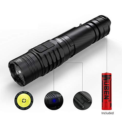 LED Taschenlampe 1200 Lumen Seite Doppeltaster Handheld Licht USB Wiederaufladbar Taktische Taschenlampen CREE XP-L2 V6, WUBEN TO40R Wasserdicht IPX8 Light, 7 Modi, mit Akku, Super hell und kompakt