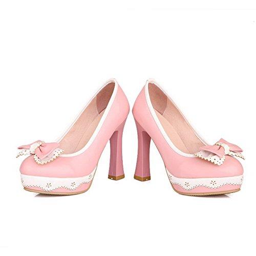 AllhqFashion Damen Weiches Material Ziehen Auf Rund Zehe Hoher Absatz Pu Pumps Schuhe Pink