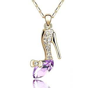KATGI Fashion 18K White Gold Plated Cinderella Crystal Shoes Austrian Crystal Pendant Necklace