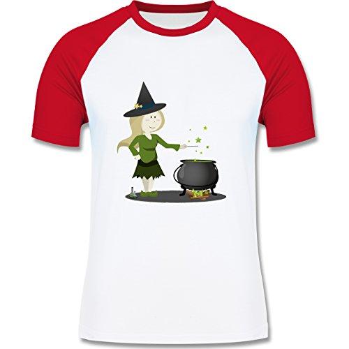 Shirtracer Halloween - Kleine Hexe - Herren Baseball Shirt Weiß/Rot