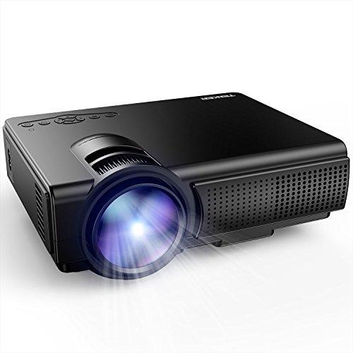 Projecteur, TENKER Q5 Mini Videoprojecteur Portable Projecteur Soutien Full HD 1080p USB / HDMI / Carte TF / TV / AV Gaming pour TV, Jeux, iPhone Smartphone Android, Noir [Classe énergétique A+++]