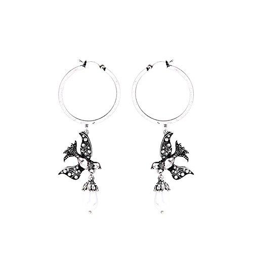 Tonpot 1 Paar niedliche, schöne Elegante kreative Vintage Vogel Perle weibliche Kreise Ohrringe für Frauen Mädchen