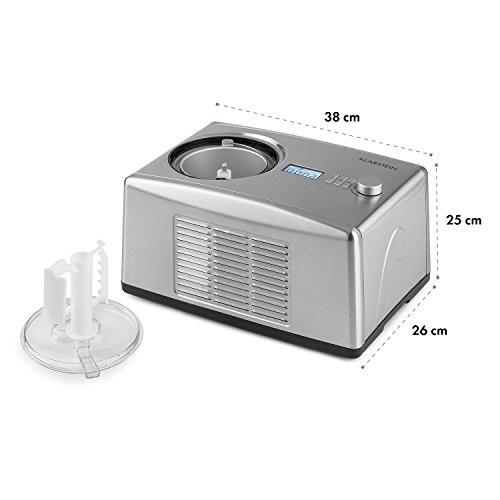 Klarstein Yo & Yummy Silver Edition • Heladera • Máquina para Hacer Helado • Sorbetes y yogures • Compresor • Capacidad 1,5L • 150W • Temporizador • Partes extraíbles • Acero Inoxidable • Gris