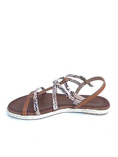 Sandali in pelle pitone BT342722 tacco basso blu cuoio MainApps Cuoio