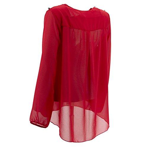 Netgozio Girlie Top Chiffon mit V-Ausschnitt Perlen Verschiedene Farbe Elegante Schultern Rot