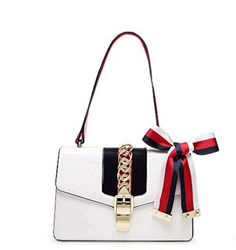 Damen Umhängetasche Aus Echtem Leder Verschluss Schulter Messenger Bag Ribbon Stripe Satin Handtasche,White-Large Stripe Ribbon Strap