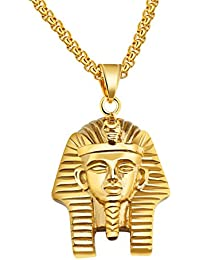 UM Joyería Hip hop Hombres Mujer Acero inoxidable egipcio faraón Colgante Collar, 60cm Caja Cadena