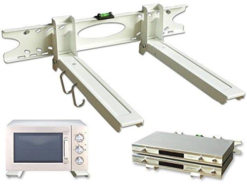 Drall Instruments Mikrowelle ausziehbare Wandhalterung 32-52 cm - Mikrowellen Halterung bis 20 kg - Halter für Pizzaofen Backautomat Mini-Ofen - Mikrowellenhalter mit Befestigung weiß Modell: H75W