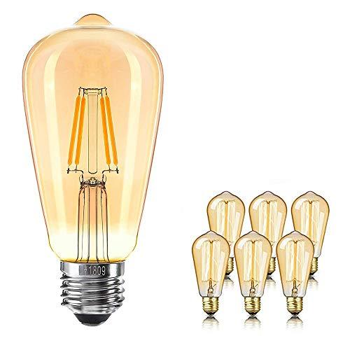 Kandelaber-buchse-adapter (QueenYA Led-glühlampen Warmweiß Dimmbar Edison-Birne Antike Vintage-glühlampen Dimmbar, E27 / E26,2200k Warmweiß, 230 Lumen Bernsteinfarben, 6-Pack,110v)