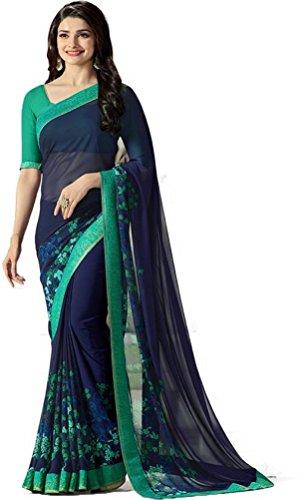 Hinayat Fashion Blue Chiffon Saree - 535