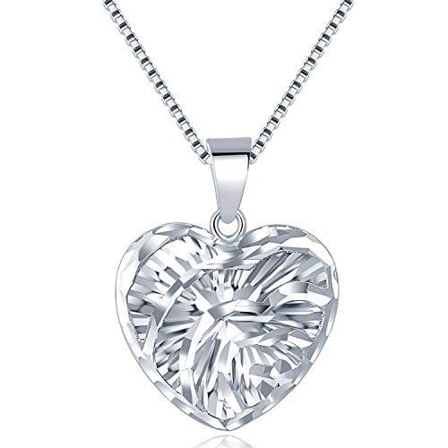 Mabelle 14ct 585Weiß Gold Puff offenes Herz Anhänger Halskette (40cm) Frauen Schmuck Geschenk