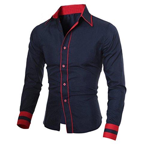 Männer Langarm-Shirt, Mode Persönlichkeit Beiläufige Bluse Marine