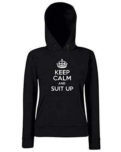 T-Shirtshock - Sweats a capuche Femme TR0086 Keep Calm and Suit Up 25mm 1 Pin Badge How I Met Your Mother Barney Stinson Noir