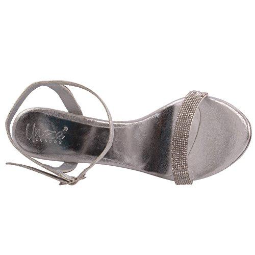 Unze Frauen 'Stella' Verschönert Stiletto Heels Party Prom Abend Hochzeit Sandalen Schuhe UK Größe 3-8 - 2641 Silber