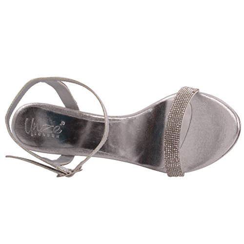 Unze Femmes 'Stella' Embellished Stiletto Heels Party Prom Evening Wedding Sandales Chaussures UK Taille 3-8 Argent
